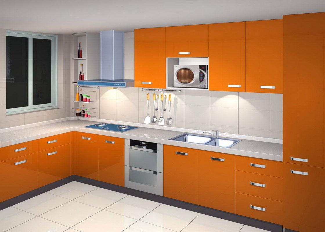 armarios de cozinha em laranja