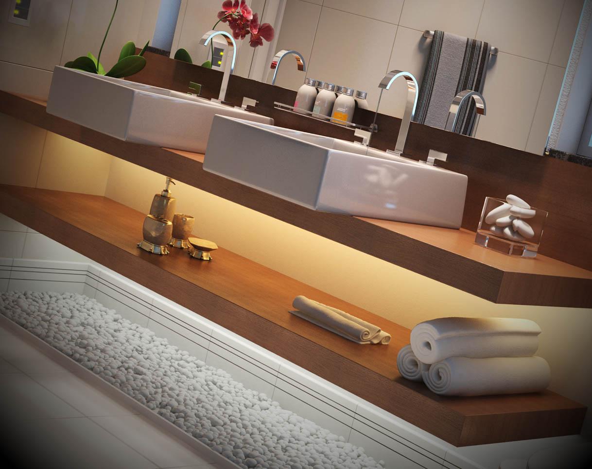 Modelos de bancadas para banheiro #9A6131 1218x966 Bancada Banheiro Duas Cubas