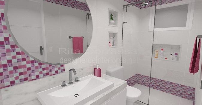 banheiro decorado com pastilha lilas