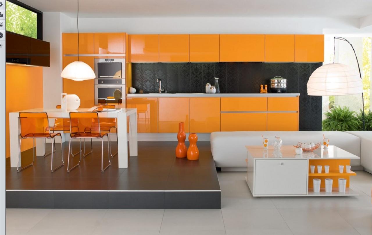cozinha americana em laranja