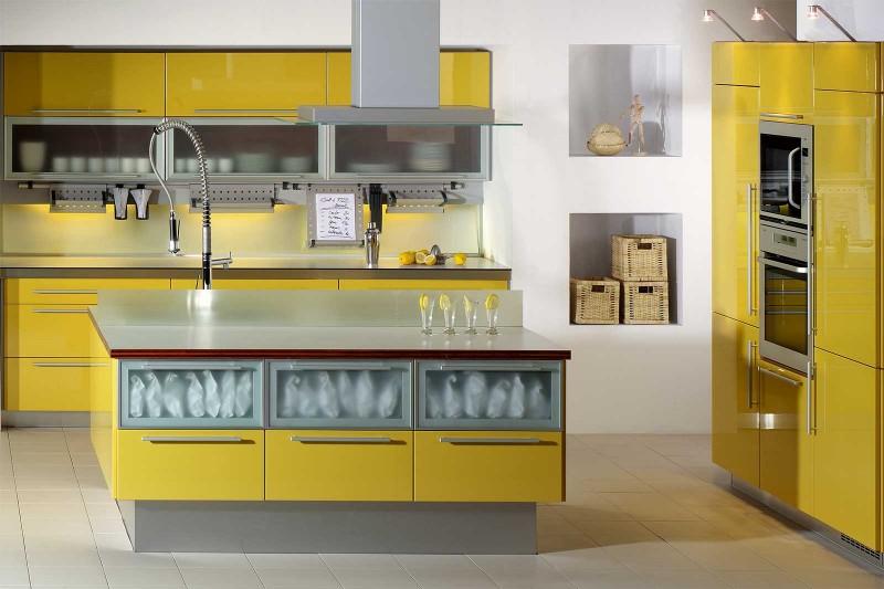 cozinha simples amarela