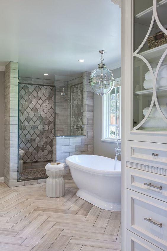 decoração banheiro branco cinza
