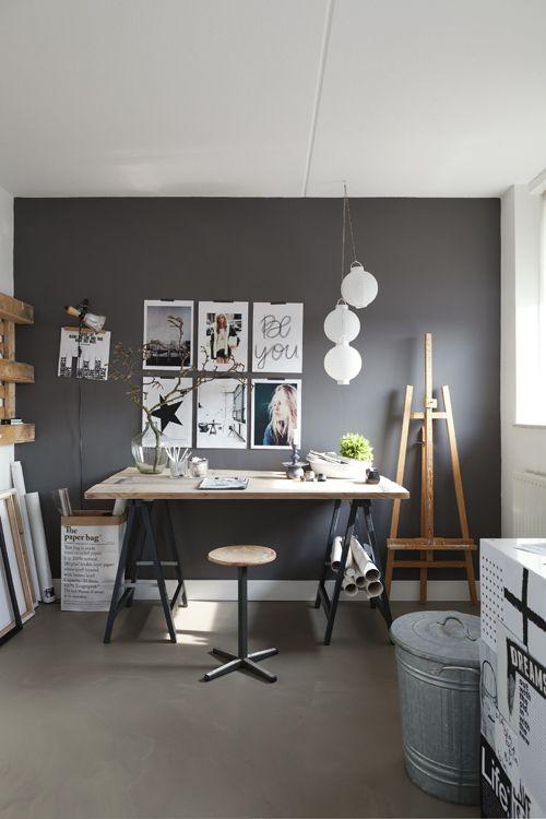 decoração escritorio preto e branco
