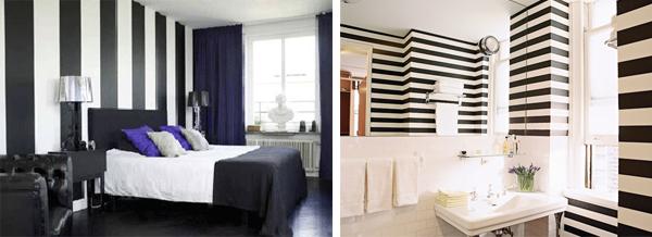 decoração preto e branco banheiro quarto
