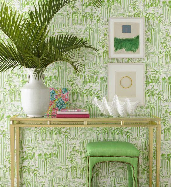 decoracao com papel parede verde