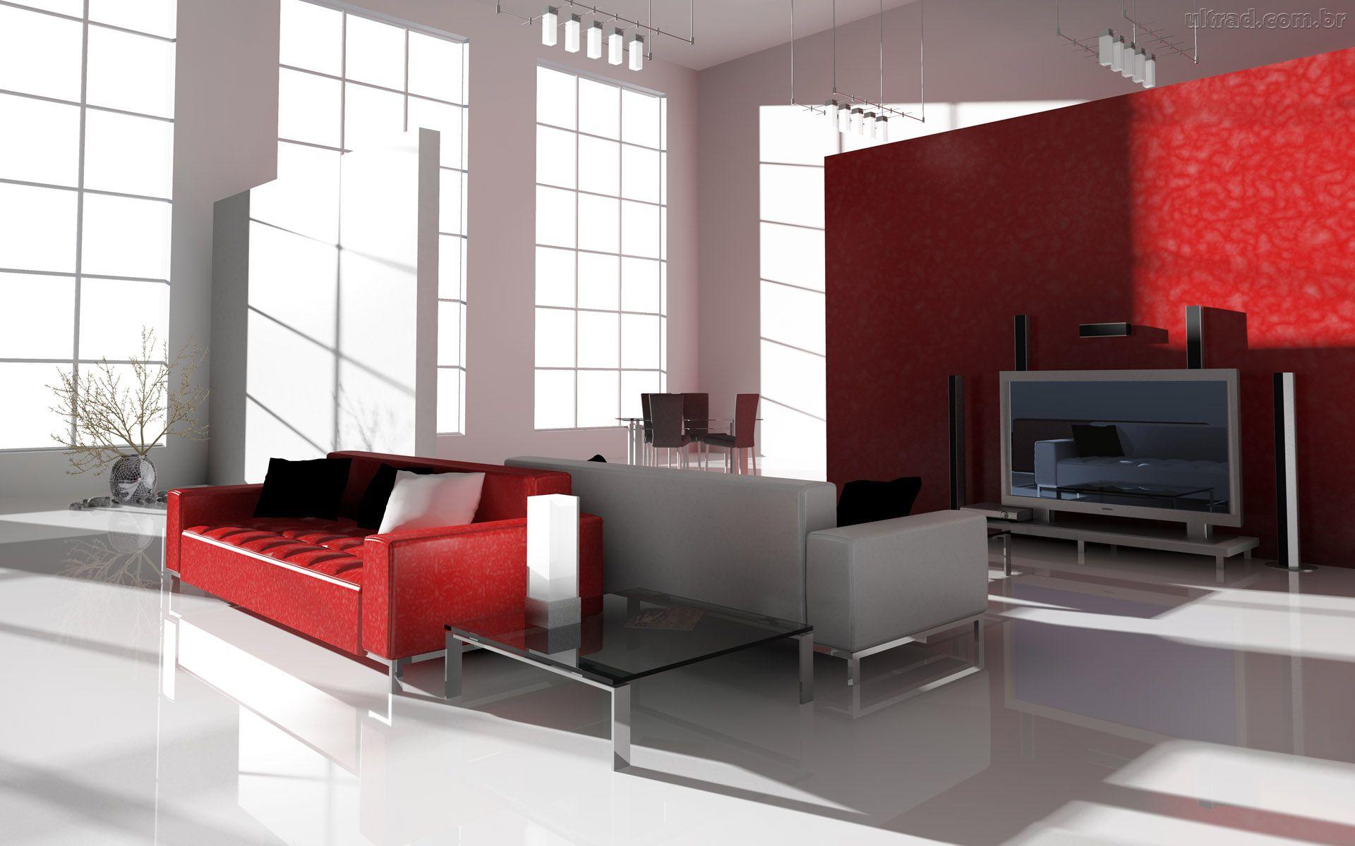 sala-estarcom-sofá-vermelho